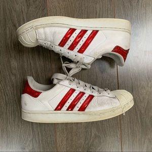 Adidas white & red superstars